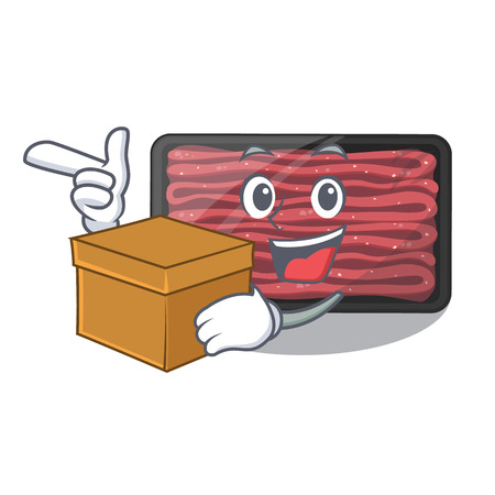 With box minced meat on a mascot plate vector illustration Çizim