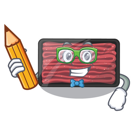 Student minced meat on a mascot plate vector illustration
