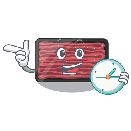 With clock minced meat on a mascot plate vector illustration