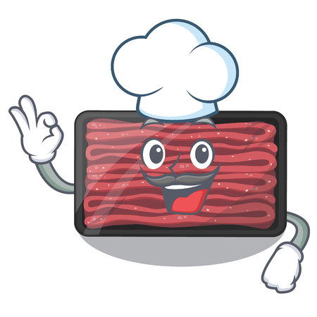 Chef minced meat on a mascot plate vector illustration