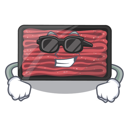 Super cool minced meat on a mascot plate vector illustration