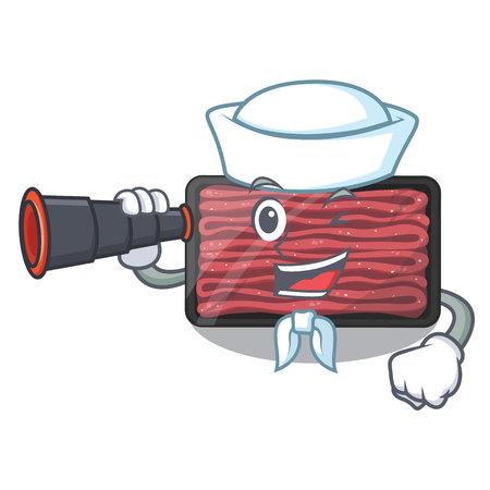 Sailor with binocular minced meat in the cartoon fridge vector illustration
