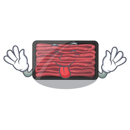 Tongue out minced meat in the cartoon shape vector illustration
