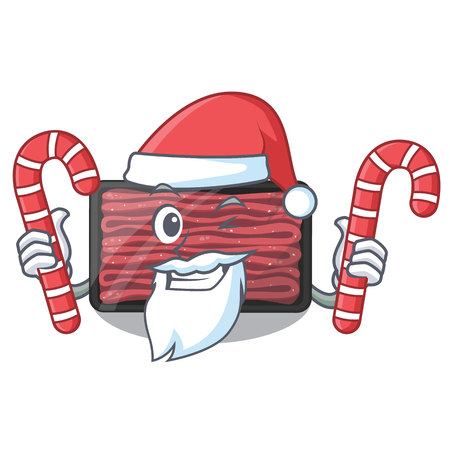 Santa with candy minced meat in the cartoon shape