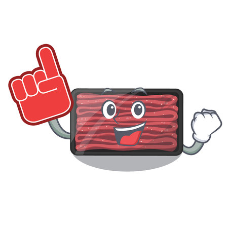 Foam finger minced meat in the cartoon shape vector illustration 일러스트