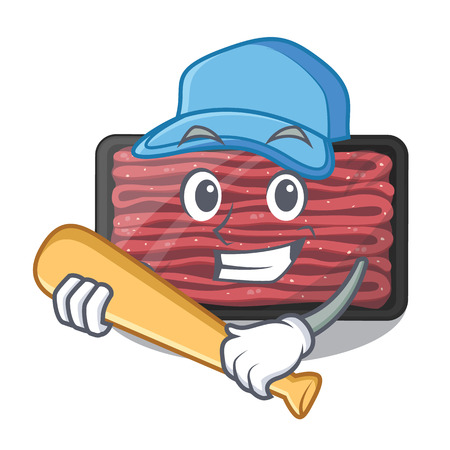 Playing baseball minced meat isolated in the character