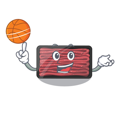 With basketball minced meat isolated in the character vecto illustration Çizim
