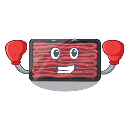 Boxing minced meat isolated in the character vecto illustration