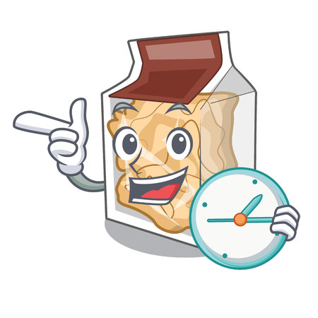 With clock pork rinds in a cartoon jar vector illustration