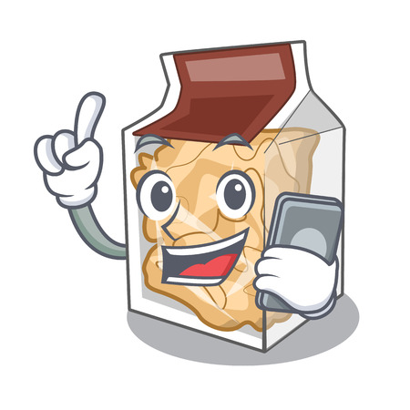 With phone pork rinds isolated in the cartoon vector illustration