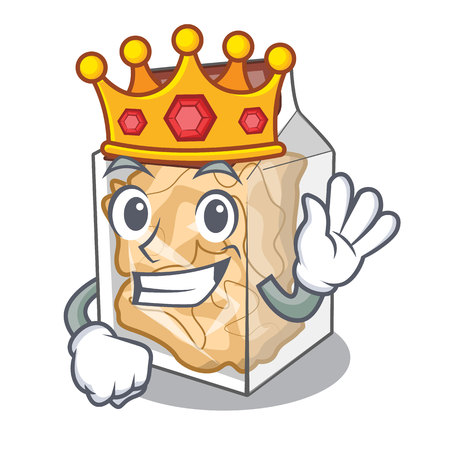 King pork rinds in the character plastic vector illustration Illustration