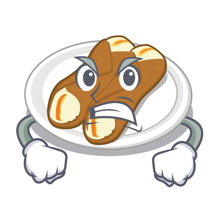 Angry cannoli isolated with in the character vector illustration