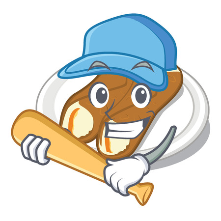 Playing baseball cannoli is served on mascot plate vector illustration Иллюстрация