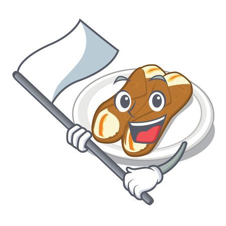 With flag cannoli in the a cartoon shape vector illustration Ilustração