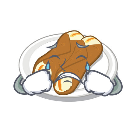 Crying cannoli isolated with in the character vector illustration