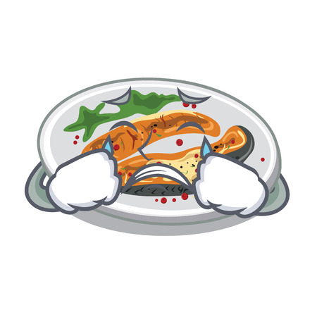 Crying grilled salmon served on cartoon board vector illustration