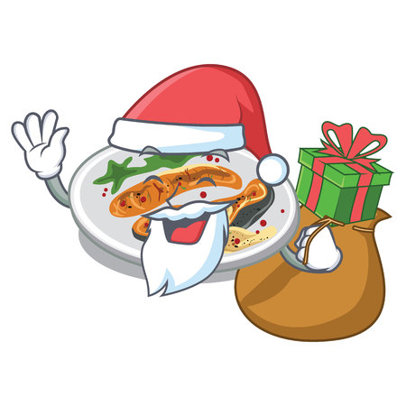 Santa with gift grilled salmon on a cartoon plate