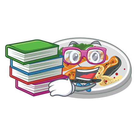 Student with book grilled salmon on a cartoon plate vector illustration