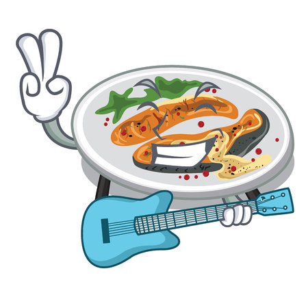 With guitar grilled salmon served on cartoon board vector illustration Stock Illustratie