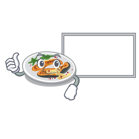 Thumbs up with board grilled salmon isolated in the mascot vector illustration Illustration