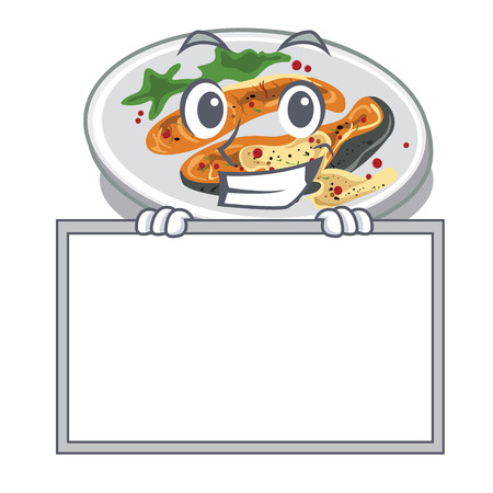 Grinning with board grilled salmon isolated in the mascot vector illustration Illustration