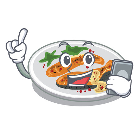 With phone grilled salmon isolated in the mascot