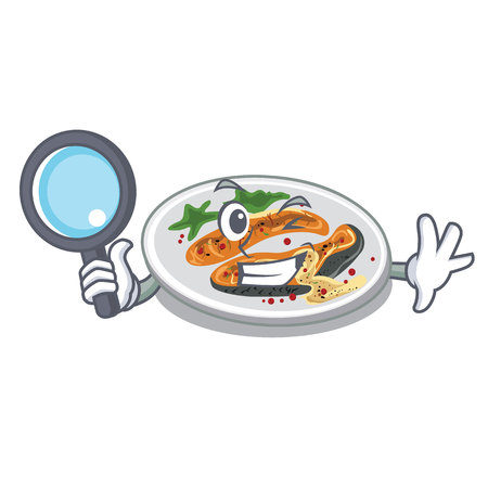 Detective grilled salmon in the character shape
