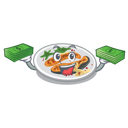 With money bag grilled salmon served on cartoon board vector illustration Vectores
