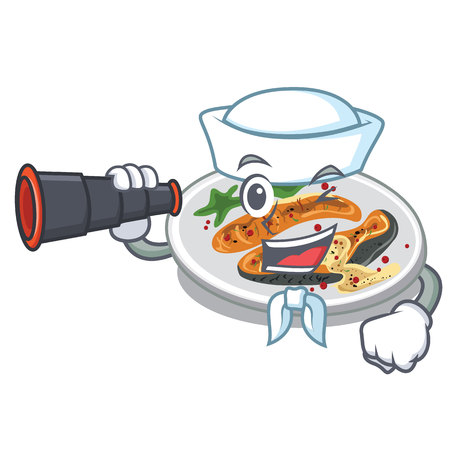 Sailor with binocular grilled salmon served on cartoon board vector illustration
