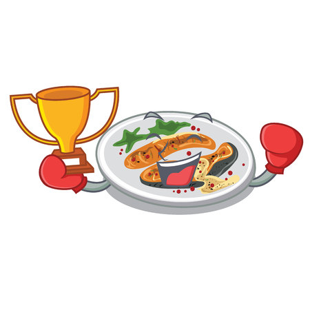 Boxing winner grilled salmon on a cartoon plate vector illustration