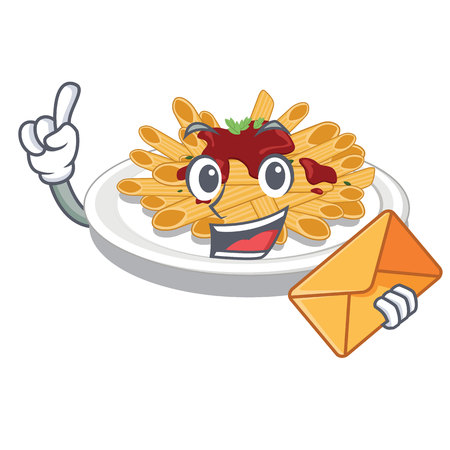 With envelope pasta in the a character bowl vector llustration