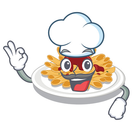 Chef pasta in the a character bowl vector llustration