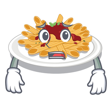Afraid pasta in the a mascot shape vector illustration