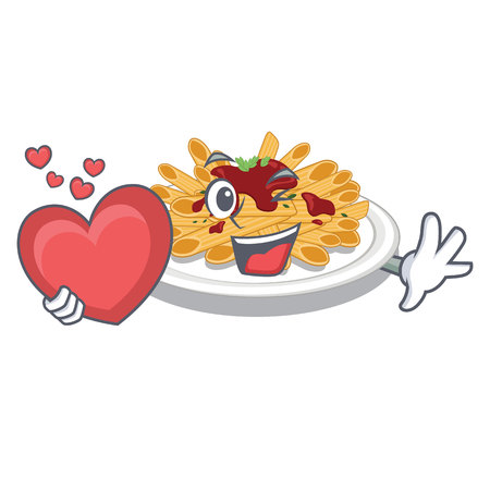 With heart pasta in the a mascot shape vector illustration