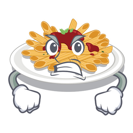 Angry pasta in the a mascot shape vector illustration Иллюстрация