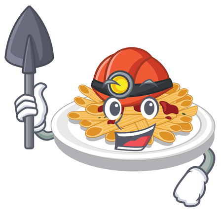 Miner pasta in the a mascot shape vector illustration