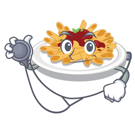 Doctor pasta is served on cartoon plates vector illustration