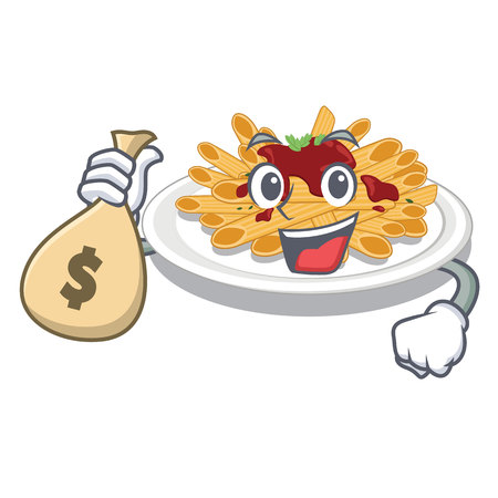 With money bag pasta is served on cartoon plates vector illustration