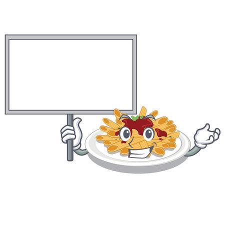 Bring board pasta is served on cartoon plates vector illustration