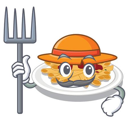 Farmer pasta is served on cartoon plates Illustration