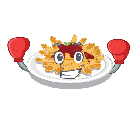 Boxing pasta is served on cartoon plates vector illustration Illustration