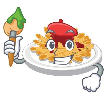 Artist pasta is served on cartoon plates vector illustration