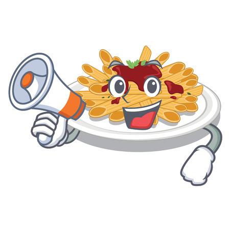 With megaphone pasta is served on cartoon plates vector illustration Illustration