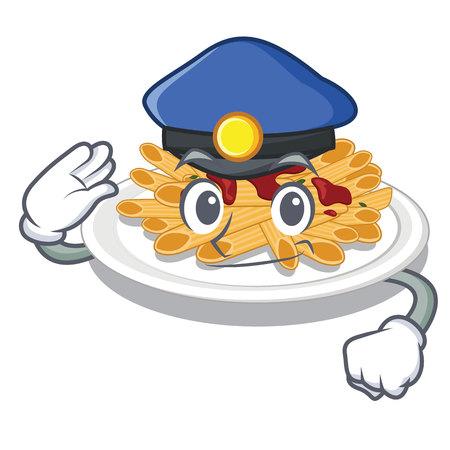 Police pasta is served on cartoon plates vector illustration Illustration
