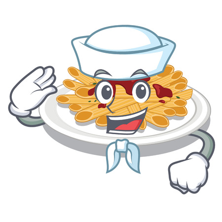 Sailor pasta is served on cartoon plates vector illustration Illustration