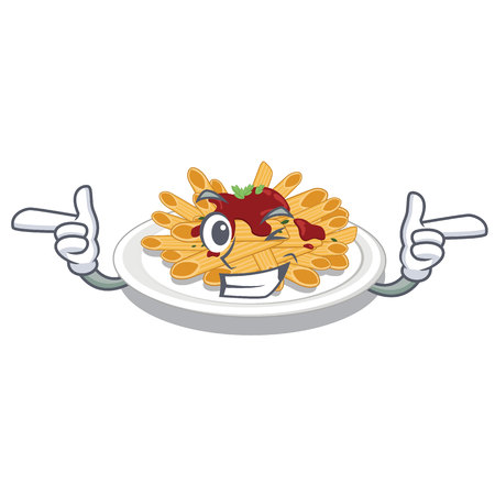 Wink pasta in the a character bowl vector llustration