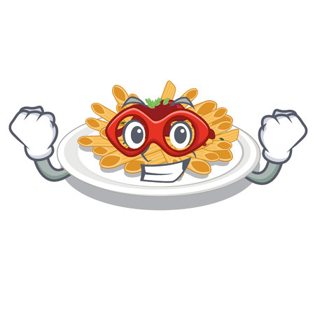 Super hero pasta in the a character bowl