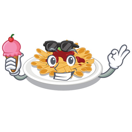 With ice cream pasta in the a character bowl vector llustration Ilustracja