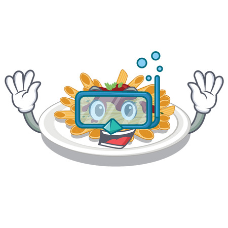 Diving pasta in the a character bowl vector llustration Çizim