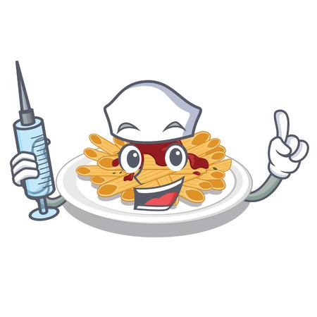 Nurse pasta in the a character bowl vector llustration Иллюстрация